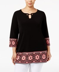 Jm Collection Plus Size Border Print Keyhole Top Only At Macy's Artifact Medallion
