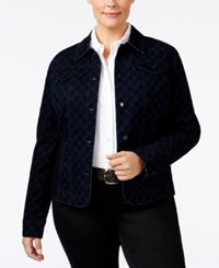 Charter Club Plus Size Printed Flocked Denim Jacket Only At Macy's Medium Rinse Combo