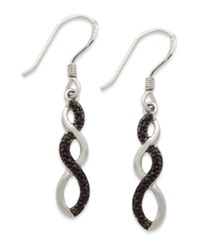 Victoria Townsend Sterling Silver Earrings Black Diamond Accent Infinity Earrings