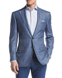 Stefano Ricci Windowpane Two Button Sport Coat Blue