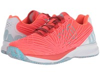 Wilson Kaos 2.0 Fiery Coral White Blue Curacao Tennis Shoes Pink