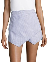 Design Lab Lord And Taylor Asymmetrical Panel Accented Seersucker Shorts Navy