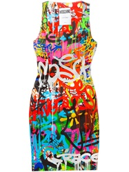 Moschino Graffiti Print Mini Dress Multicolour