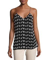 Cushnie Et Ochs Beaded Chiffon Tank Top Black White Black White