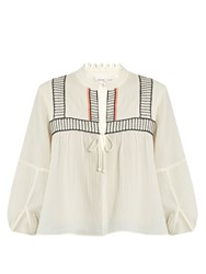 Apiece Apart Loreto Embroidered Cotton Top Cream