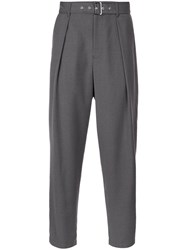 Guild Prime Belted High Waist Trousers Polyester Rayon Grey