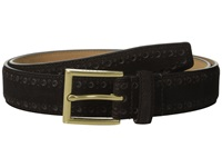 Cole Haan 32Mm Feather Edge Stitched Strap With Perforated Detail Java Men's Belts Brown
