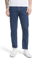 Obey Men's New Threat Skinny Fit Cut Off Jeans Stone Washed Indigo