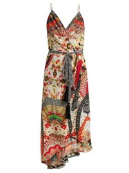 Camilla Floral Print Silk Crepe Wrap Dress Red Multi