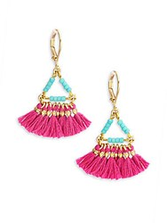 Shashi Lilu 18K Gold Plated Vermeil Sterling Silver Earrings Magenta