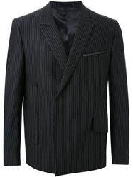 Consistence Double Breasted Pinstripe Blazer Black