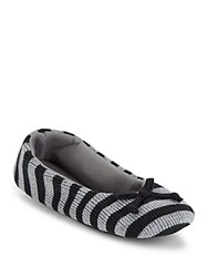 Isotoner Striped Slip On Slippers Black