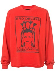 Enfants Riches Deprimes E.R.D. Deluxe Long Sleeve T Shirt Unisex Cotton M Red