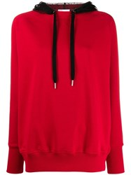 Red Valentino Lace Hood Sweatshirt Red