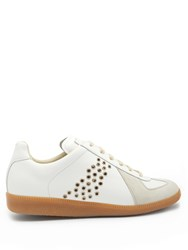Maison Martin Margiela Replica Low Top Leather And Suede Trainers White