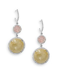 Effy Pink And Green Sapphire Diamond And 14K White Gold Drop Earrings