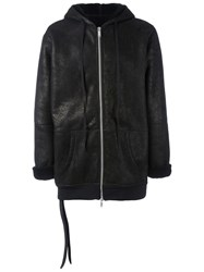 Unravel Project Hooded Shearling Lined Coat Black