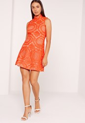 Missguided High Neck Lace Skater Dress Orange Red