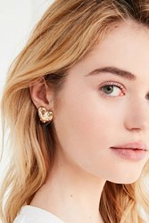 Urban Outfitters Quilted Heart Post Earring Gold