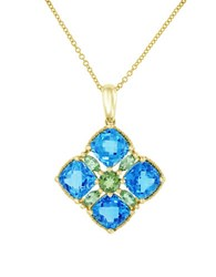 Effy Blue Topaz Peridot And 14K Yellow Gold Pendant Necklace Gold Blue