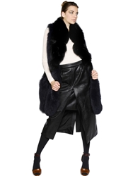 Sonia Rykiel Oversized Fox Fur Vest Blue Black