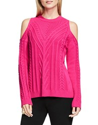 Vince Camuto Cable Knit Cold Shoulder Sweater Pink