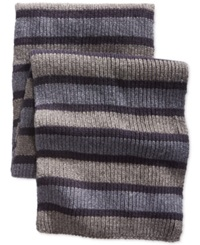 Nautica Tri Colored Striped Scarf Granite Heather Navy Seas Cadet Heather