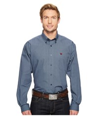 Cinch Long Sleeve Plain Weave Print Blue Men's Clothing