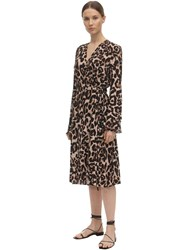 Baum Und Pferdgarten Printed V Neck Viscose Blend Dress Leopard
