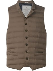 Brunello Cucinelli Padded Button Gilet Brown