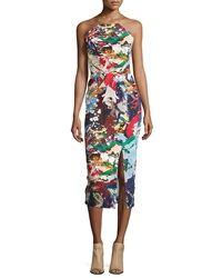 Nicholas Sleeveless Crisscross Back Sheath Dress Paint Splatter