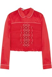 Miu Miu Smocked Embroidered Poplin Top It44