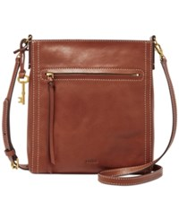 Fossil Emma North South Leather Crossbody Brown