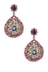 Sterling Silver Ruby Sapphire And Diamond Earrings 3.00 Ctw Multi