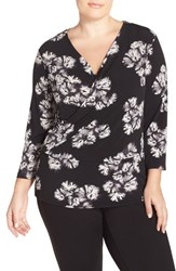 Plus Size Women's Ellen Tracy Faux Wrap Top Spellbound Black