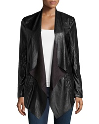 Vakko Draped Faux Leather Jacket Black