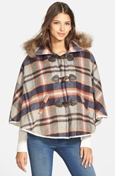 Junior Women's Paper Crane Plaid Hooded Cape With Faux Fur Trim Online Only