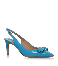 Salvatore Ferragamo Erina Patent Leather Slingbacks Female Blue