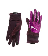 Nike Printed Therma Fit Elite Run Gloves Port Wine Bold Berry Silver Cycling Gloves Purple