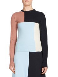 Cedric Charlier Wool And Cashmere Colorblock Sweater Blush Blue