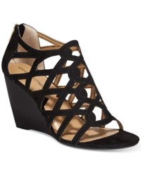 Adrienne Vittadini Alby Strappy Wedge Sandals Women's Shoes Black