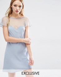 Reclaimed Vintage Flirty Dress With Sheer Arm Detail Gray