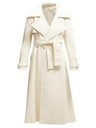 Sara Battaglia Double Breasted Faux Leather Trench Coat Ivory