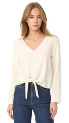 Jenni Kayne Tie Front Long Sleeve Top Ivory