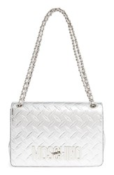 Moschino Small Embossed Metallic Leather Shoulder Bag Metallic Nickel