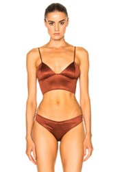 Fleur Du Mal Triangle Longline Bra In Red Brown Red Brown