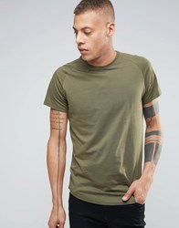 Selected Homme Longline Raglan T Shirt With Curved Hem Olive Nights Green