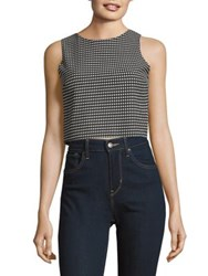 Design Lab Lord And Taylor Sleeveless Jacquard Crop Top Black White