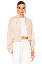 Tibi Sculpted Bomber Jacket In Pink