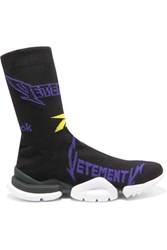 Vetements Reebok Metal Logo Jacquard Stretch Knit Sneakers Black